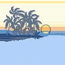Big Sunset Hawaiian Stripe Surfers - Ocean Blue & Yellow by DriveIndustries