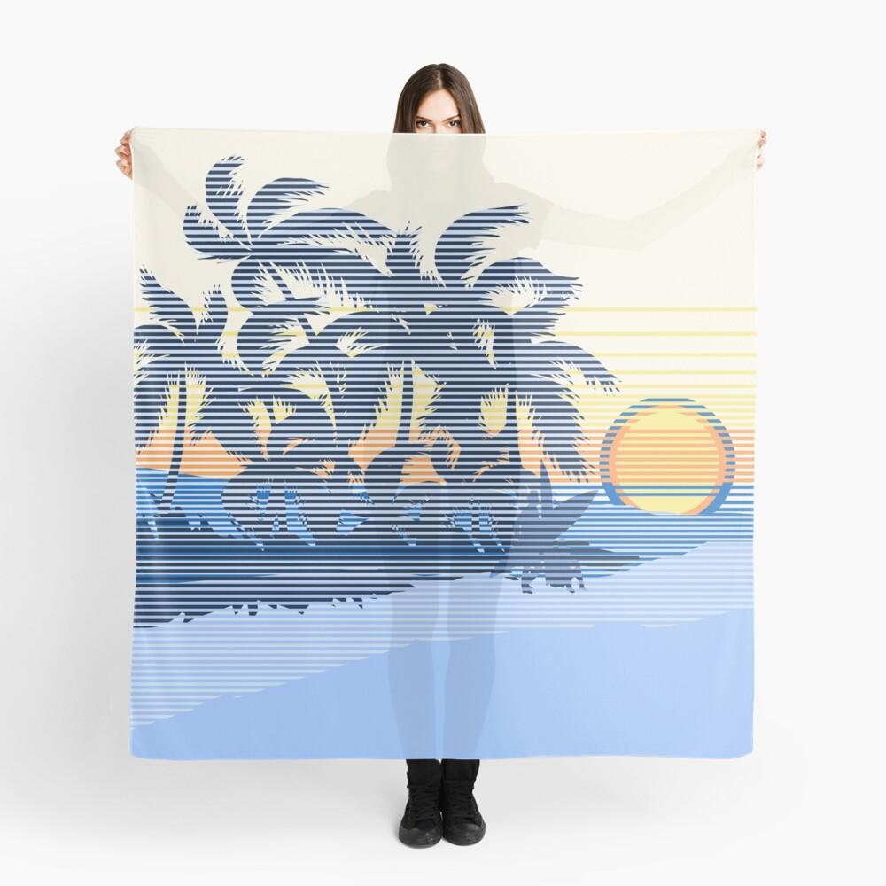 Big Sunset Hawaiian Stripe Surfers - Ocean Blue & Yellow Scarf