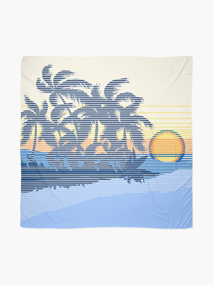 Alternate view of Big Sunset Hawaiian Stripe Surfers - Ocean Blue & Yellow Scarf