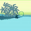 Big Sunset Hawaiian Stripe Surfers - Aqua & Lemon by DriveIndustries
