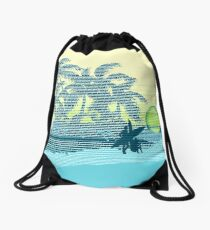 Big Sunset Hawaiian Stripe Surfers - Aqua & Lemon Drawstring Bag