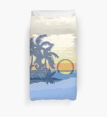Big Sunset Hawaiian Stripe Surfers - Ocean Blue & Yellow Duvet Cover