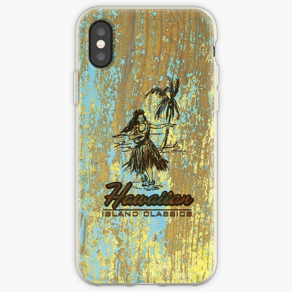 Surf Shack Hawaiian Weathered Faux Wood Design - Aqua and Yellow iPhone Cases & Covers