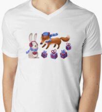 Fuchs und Hase feiern Weihnachten T-Shirt mit V-Ausschnitt