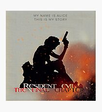 Resident Evil The Final Chapter: square minimalist movie poster Photographic Print