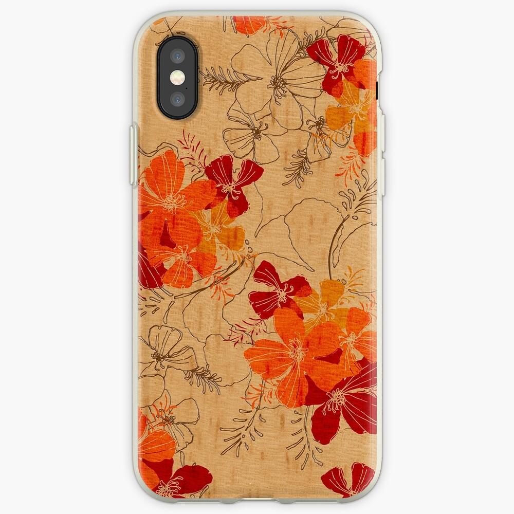 Midnight Garden Hawaiian Faux Wood Surfboard - Orange iPhone Cases & Covers