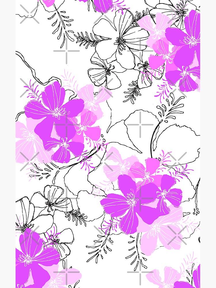 Midnight Garden Hawaiian Hibiscus Print - Violet on White by DriveIndustries
