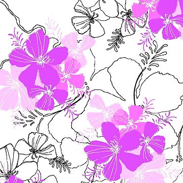 Midnight Garden Hawaiian Hibiscus Print - Violet on White by DriveIndustries