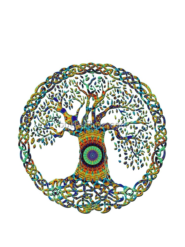 TREE OF LIFE - bright mosiac NEW DESIGN by butterflyscream