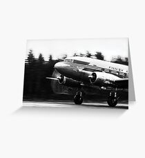 Douglas DC-3 taking off in rain Greeting Card