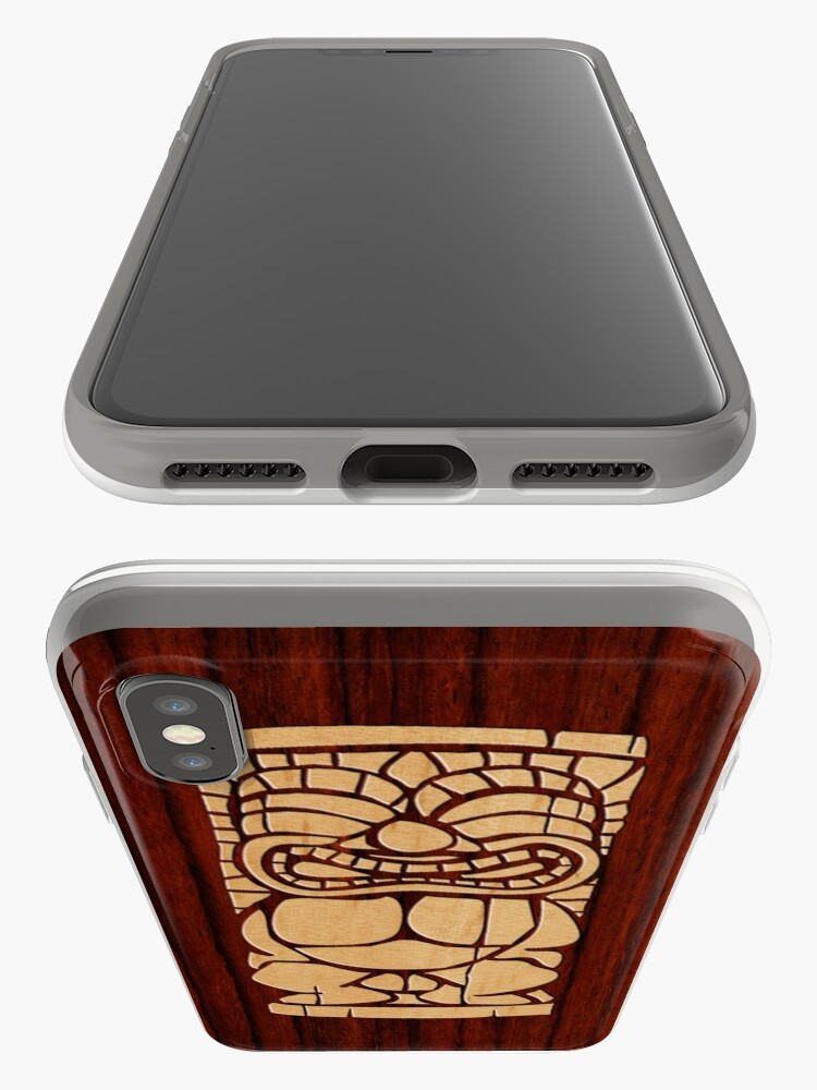Alternate view of Tiki Ailani Faux Koa Wood Hawaiian Surfboard  iPhone Cases & Covers