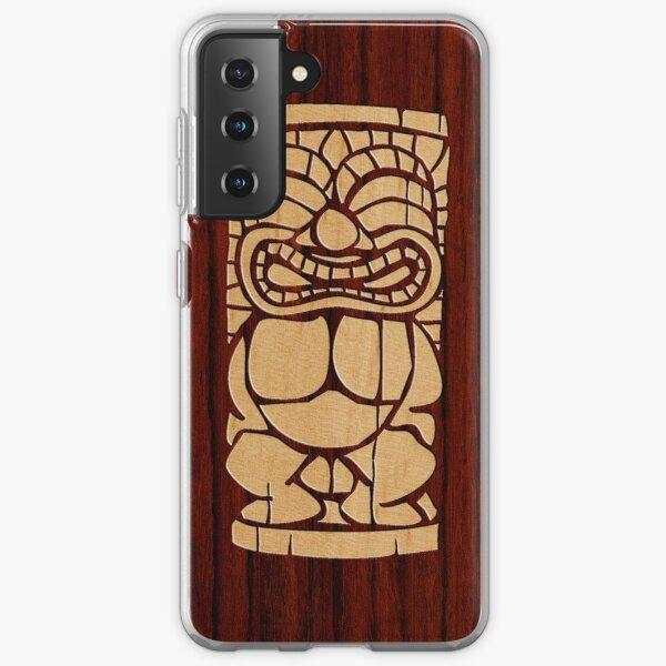 Tiki Ailani Faux Koa Wood Hawaiian Surfboard  Samsung Galaxy Soft Case