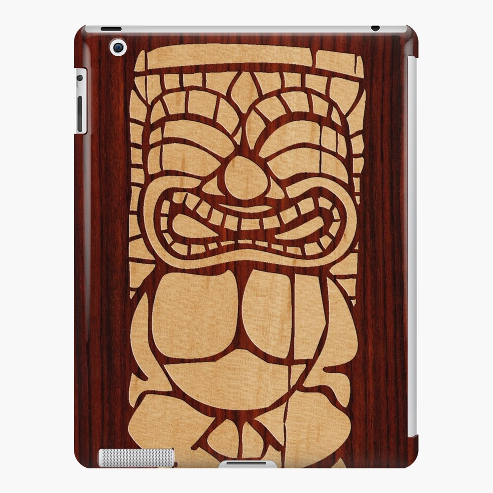 Tabla de surf hawaiana Tiki Ailani Faux Koa Wood Funda y vinilo para iPad