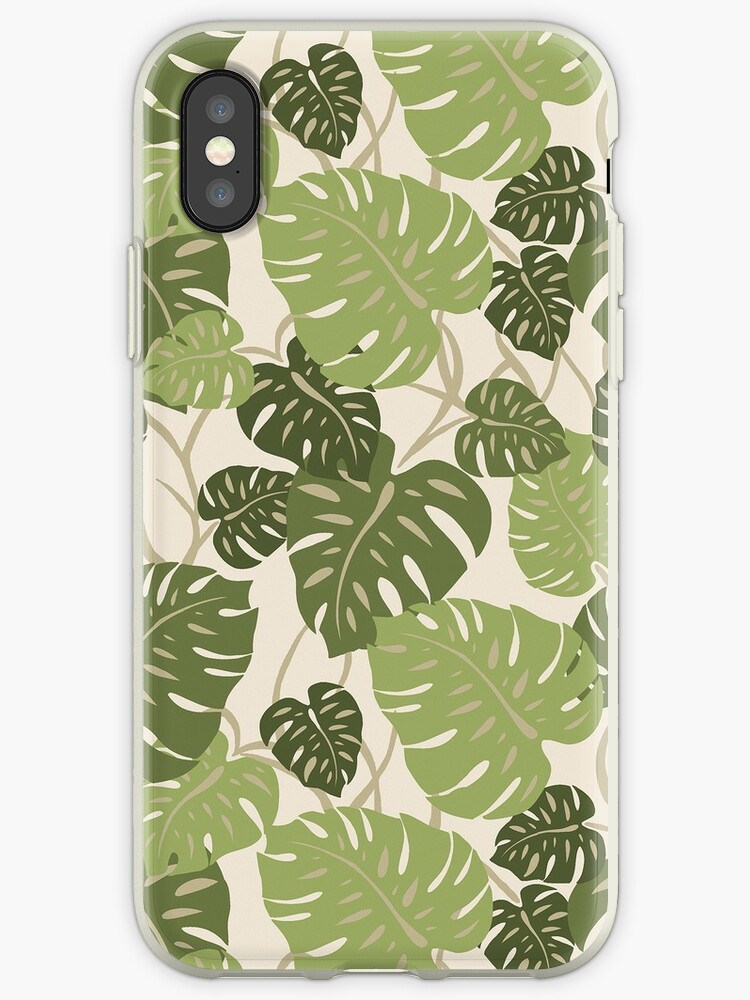 Cliff Hanger Monstera Leaf Hawaiian Print - Sage and Olive Green by DriveIndustries