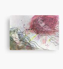 Watercolor- The Creation of Adam Metal Print