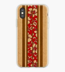 Pupukea Hawaiian Faux Koa Wood Surfboard with Red Hibiscus Pareau iPhone Case