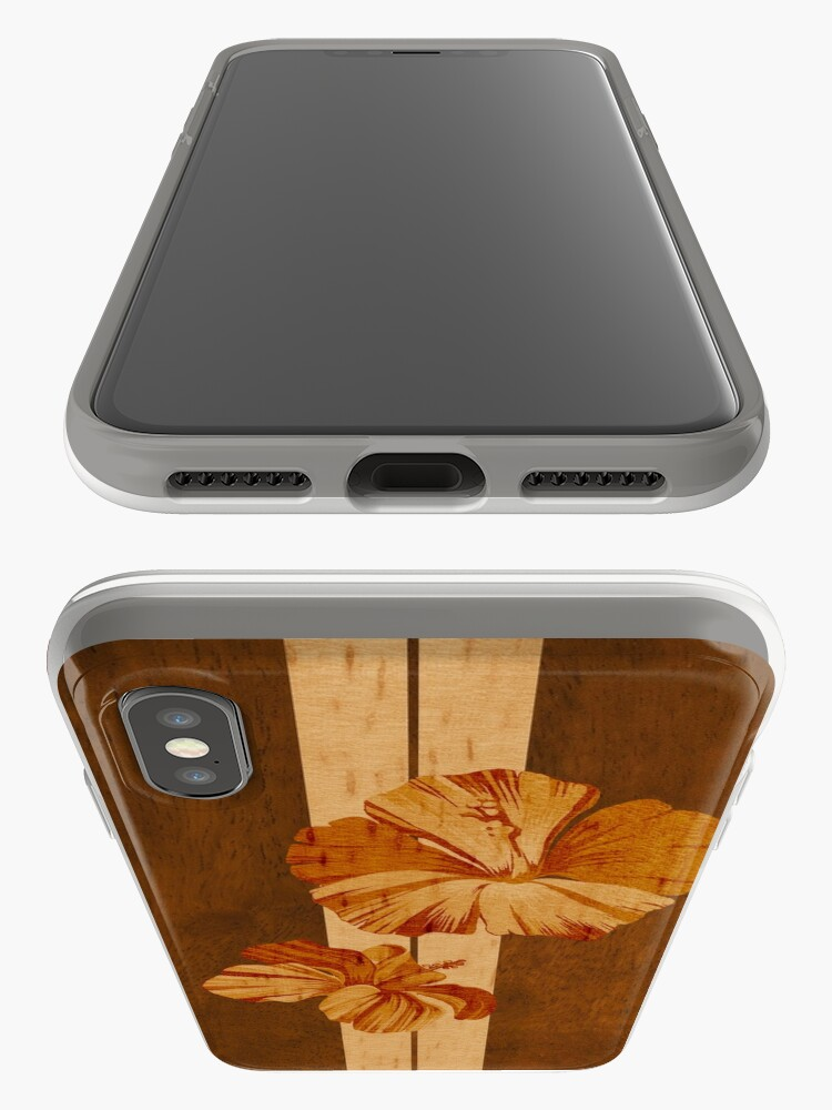 Alternate view of Kualoa Faux Koa Wood Hawaiian Surfboard with Hibiscus iPhone Cases & Covers