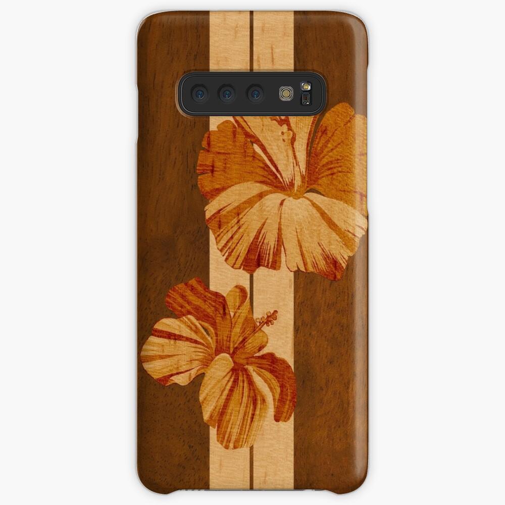 Kualoa Faux Koa Wood Tabla de surf hawaiana con hibisco Funda y vinilo para Samsung Galaxy