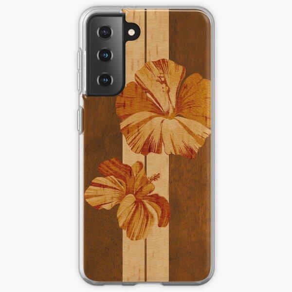 Kualoa Faux Koa Wood Hawaiian Surfboard with Hibiscus Samsung Galaxy Soft Case