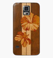 Kualoa Faux Koa Wood Hawaiian Surfboard with Hibiscus Case/Skin for Samsung Galaxy