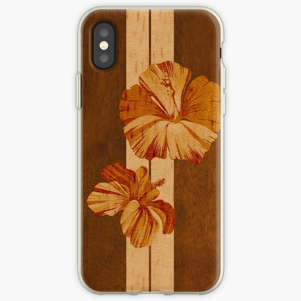 Kualoa Faux Koa Wood Hawaiian Surfboard with Hibiscus iPhone Cases & Covers