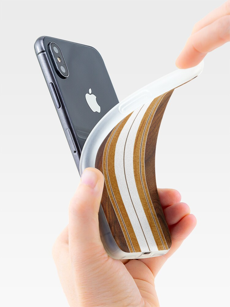 Alternate view of Nalu Mua Hawaiian Faux Koa Wood Surfboard - White iPhone Cases & Covers