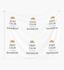 Keep Calm Rainbow on white Wall Tapestry