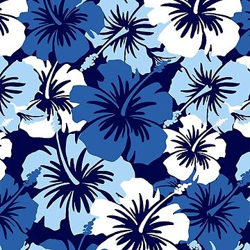 Epic Hibiscus Hawaiian Floral Aloha Shirt Print - Blue by DriveIndustries
