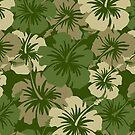 Epic Hibiscus Hawaiian Floral Aloha Shirt Print - Olive Green by DriveIndustries