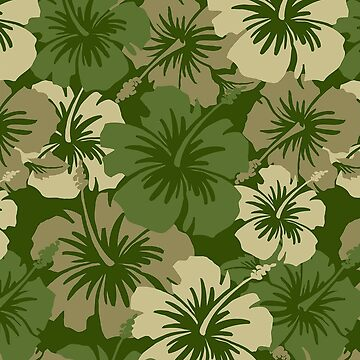 Epic Hibiscus Hawaiian Floral Aloha Shirt Print - Olive Green by DriveIndustries