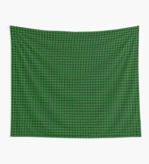Christmas Green and Black Hounds Tooth Check Pattern Wall Tapestry