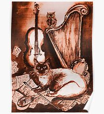 MUSICAL CAT AND OWL  Brown Sepia White Poster