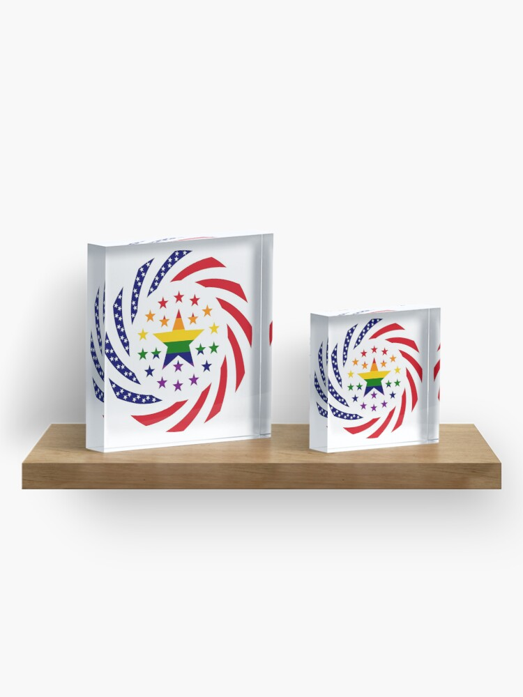 Alternate view of Love is Love American Flag 2.0 Acrylic Block