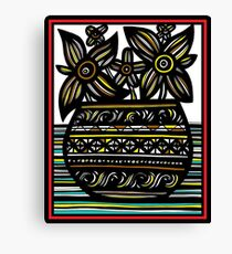 Salubrious Flowers Yellow Red Black Canvas Print
