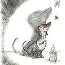 Dachshund and spider. Spooky sausage dog, doxie shadow, illustration. by CandyMedusa