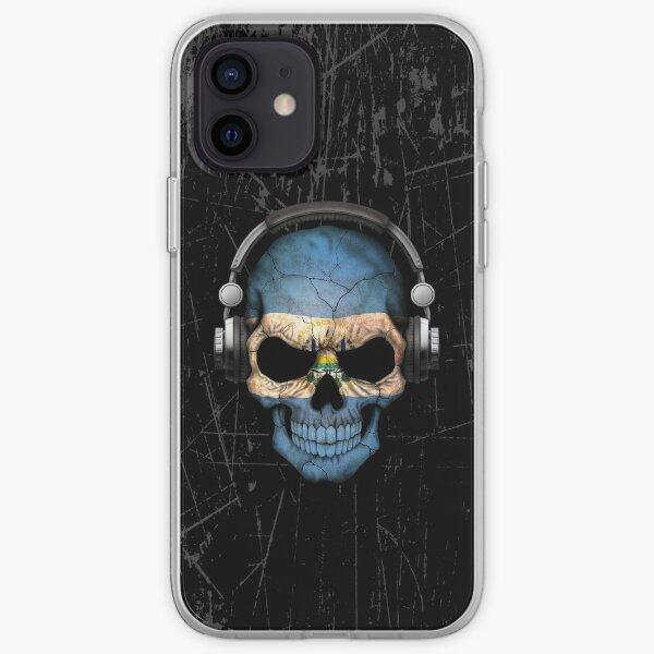 Dj Skull con bandera de El Salvador Funda blanda para iPhone