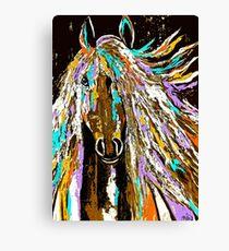 Pferdeabstraktes braunes blaues Gold Leinwanddruck
