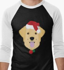 Golden Retriever Dog With Red Santa's Hat Funny Xmas Tshirt T-Shirt