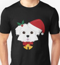 Maltese Dog With Red Santa's Hat Funny Xmas Tshirt T-Shirt