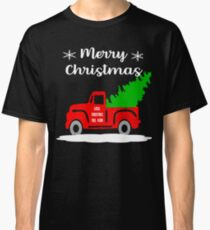 Old Vintage Red Truck Merry Christmas Shirt Christmas Tree Classic T-Shirt