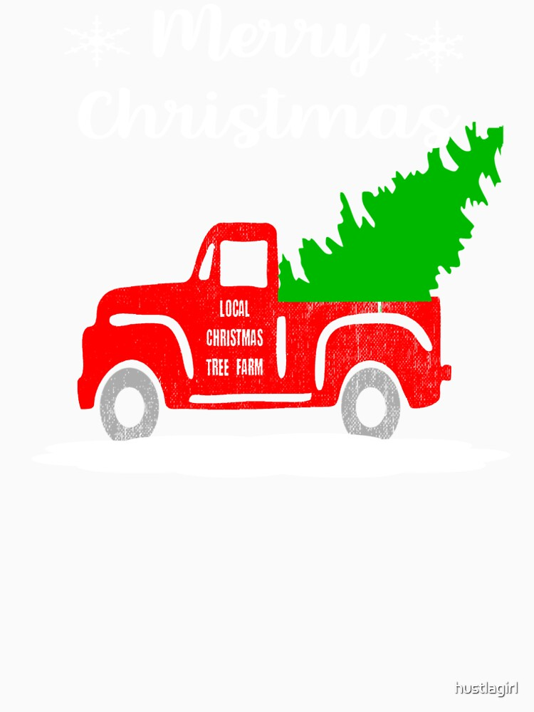 old vintage red truck merry christmas shirt christmas tree by hustlagirl