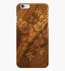 Lilikoi Hibiscus Faux Burl Wood Hawaiian Surfboard iPhone 6 Case