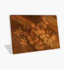 Lilikoi Hibiscus Faux Burl Wood Hawaiian Surfboard Laptop Skin
