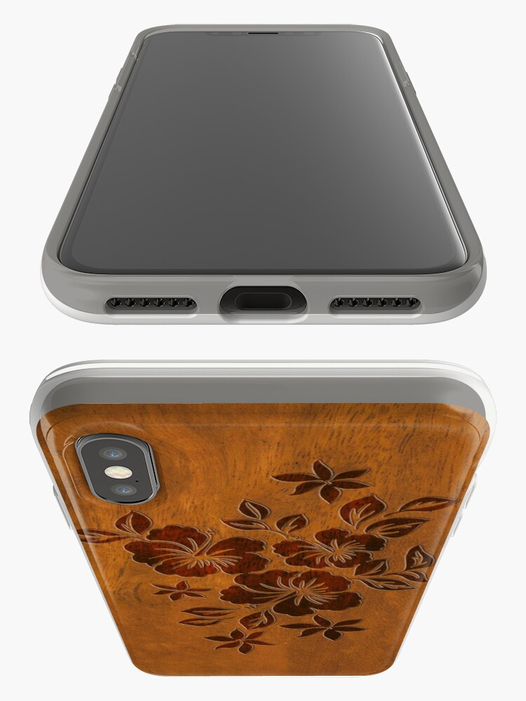 Alternate view of Lilikoi Hibiscus Faux Koa Wood Hawaiian Surfboard iPhone Cases & Covers