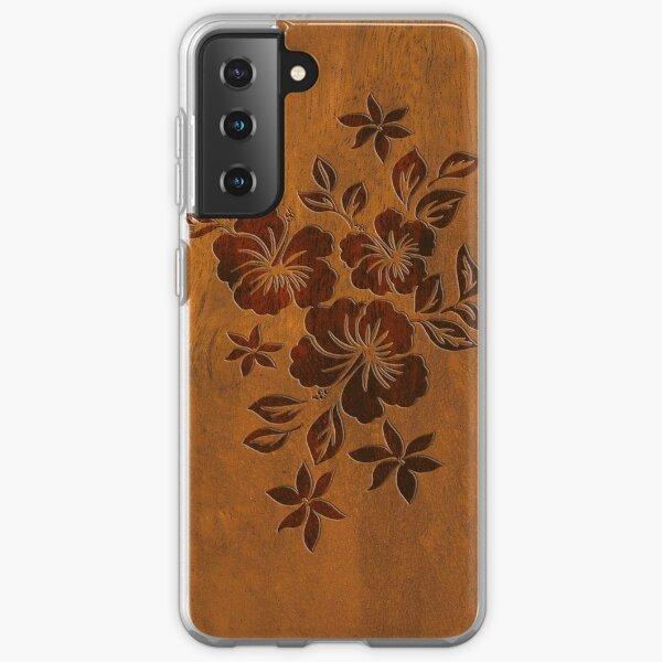 Lilikoi Hibiscus Faux Koa Wood Hawaiian Surfboard Samsung Galaxy Soft Case