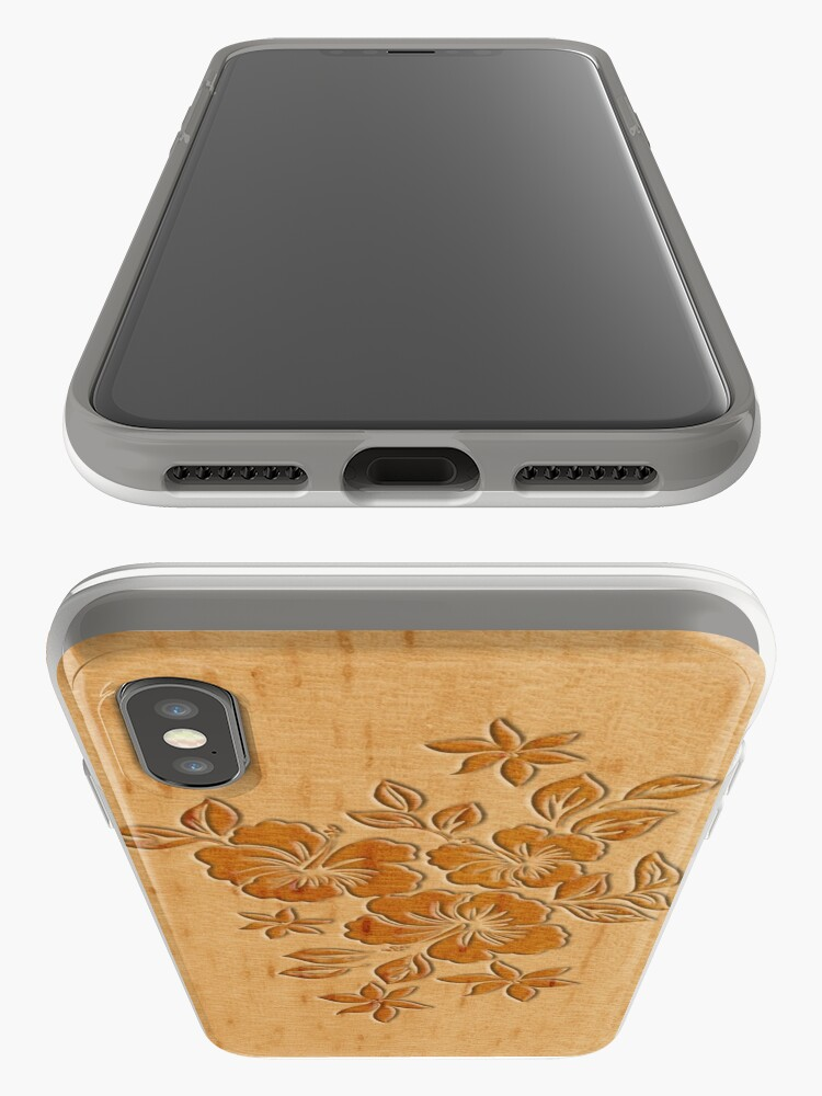 Alternate view of Lilikoi Hibiscus Faux Wood Hawaiian Surfboard iPhone Cases & Covers