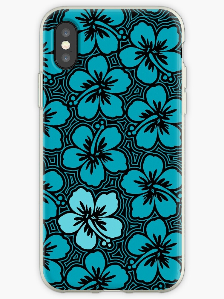 Island Hibiscus Hawaiian Floral - Teal and Black by DriveIndustries