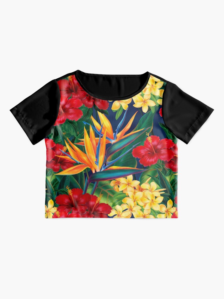 Alternate view of Tropical Paradise Hawaiian Birds of Paradise Illustration Chiffon Top