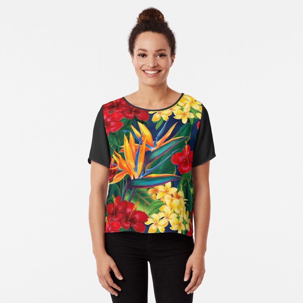 Tropical Paradise Hawaiian Birds of Paradise Illustration Chiffon Top