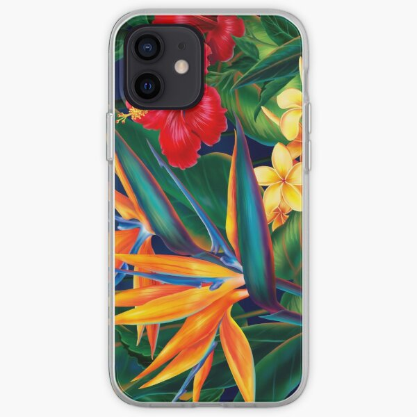 Tropical Paradise Hawaiian Birds of Paradise Illustration iPhone Soft Case